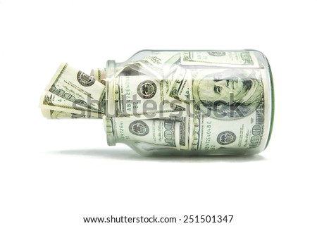crystal pot with tickets for hundred dollars - stock photo