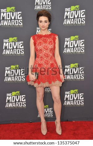 Crystal Reed at the 2013 MTV Movie Awards at Sony Studios, Culver City. April 14, 2013  Los Angeles, CA Picture: Paul Smith - stock photo