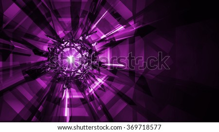 Crystal Refraction Background - Deep Pink. Refractive light rays from a cluster of crystals with a sparkling light flare in the center of the gem. Here the image is in deep pink/magenta. - stock photo