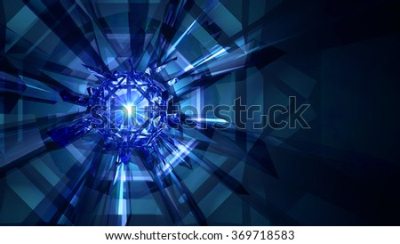 Crystal Refraction Background - Light Flare Refractive light rays from a cluster of crystals, here with a sparkling light flare in the center of the gem. 3d Render. - stock photo