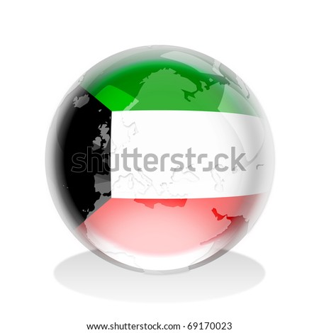 Crystal sphere of Kuwait flag with world map - stock photo