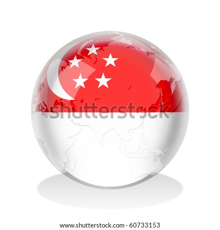 Crystal sphere of Singaporean flag with world map - stock photo