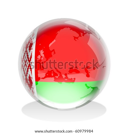Crystal sphere of the flag of The Republic of Belarus with world map - stock photo