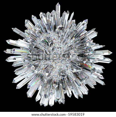 Crystal sphere with acute columns over black background. Other gems are in my portfolio. - stock photo