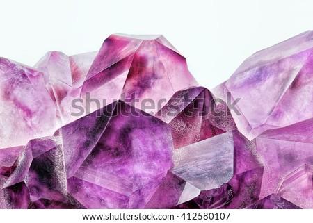 Crystal Stone macro, purple rough amethyst quartz crystals - stock photo