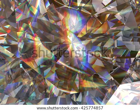 Crystal texture with spectrum caustic, 3d illustration. - stock photo