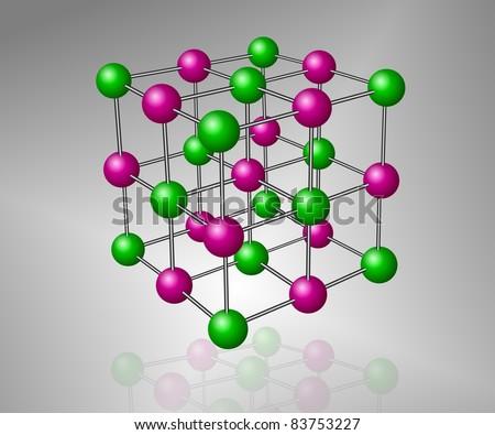Crystalline structure model of sodium chloride molecule / Molecule - stock photo