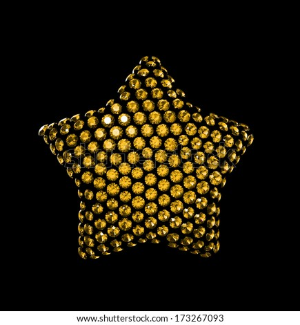 crystallized star shape clip-art isolated on black background - stock photo