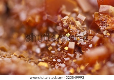 Crystals Vanadinite is a mineral belonging to the apatite group of phosphates,  chemical formula Pb5(VO4)3Cl.  Macro. Extreme closeup - stock photo