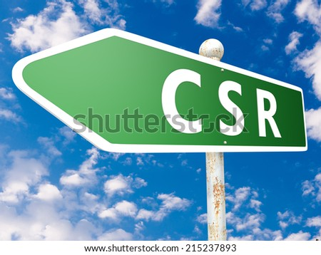 CSR - Corporate Social Responsibility - street sign illustration in front of blue sky with clouds. - stock photo