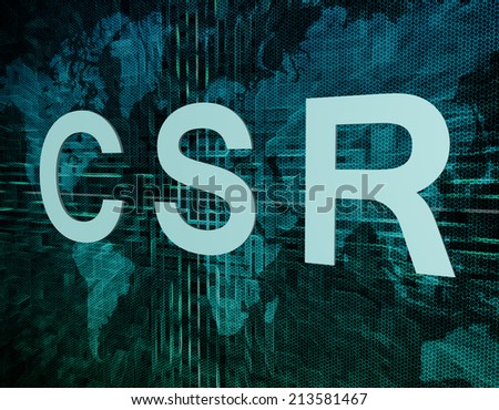 CSR - Corporate Social Responsibility text concept on green digital world map background  - stock photo