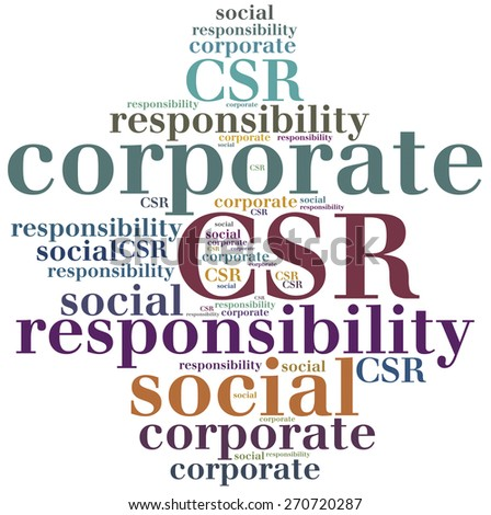CSR. Corporate social responsibility. Word cloud illustration. - stock photo