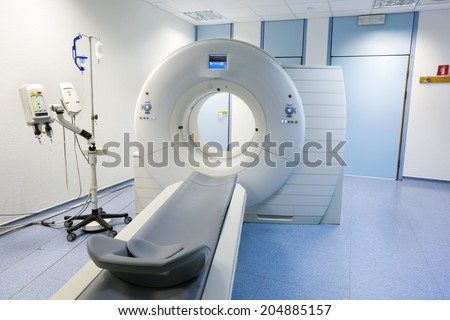 CT (Computed tomography) scanner in hospital laboratory.  - stock photo