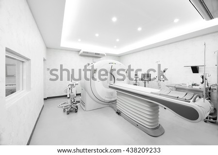 CT scanner room in hospital take with selective color technique and art lighting - stock photo