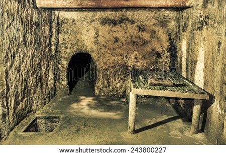 Cu Chi Tunnels in Ho Chi Minh City formerly known as Saigon - Image edited with a dramatic crispy filtered look - stock photo