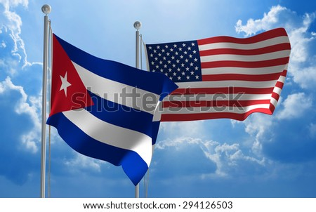 Cuba and United States flags flying together for diplomatic talks - stock photo