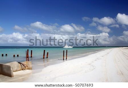 Cuba beach view in the island near Varadero. - stock photo