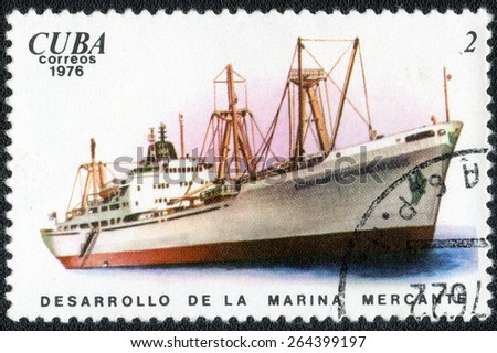 """CUBA - CIRCA 1976: A postage stamp printed in the Cuba series of images """"  History and development of ships"""",  circa 1976 - stock photo"""