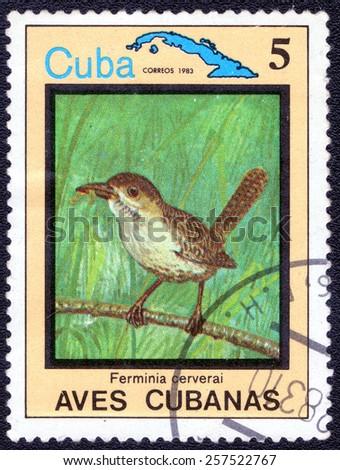 """CUBA - CIRCA 1983:A postage stamp shows Ferminia cerverai, from series """"Cuban Birds"""", circa 1983 - stock photo"""