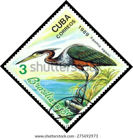 CUBA - CIRCA 1989: A stamp printed by Cuba, shows  bird Agamia Agami, Exotic Birds, Brasiliana 89, circa 1989  - stock photo