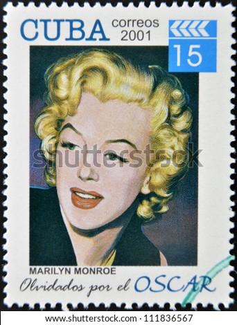 CUBA - CIRCA 2001: a  stamp printed in Cuba dedicated to the forgotten oscar award shows Marilyn Monroe, circa 2001. - stock photo