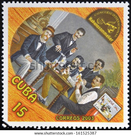 CUBA - CIRCA 2003: A stamp printed in Cuba dedicated to the wine shows a gathering of friends drinking, circa 2003 - stock photo