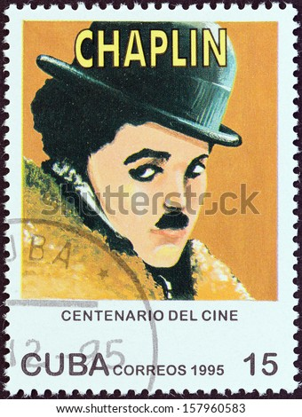 "CUBA - CIRCA 1995: A stamp printed in Cuba from the ""Centenary of Motion Pictures. Designs showing film stars"" issue shows Charlie Chaplin, circa 1995.  - stock photo"