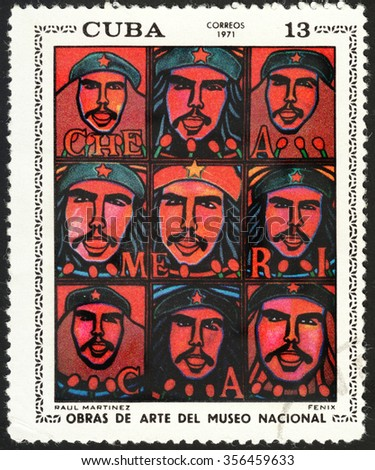 "CUBA - CIRCA 1971: A stamp printed in Cuba shows a painting by the artist Paul Martinez ""Che America"", circa 1971. - stock photo"