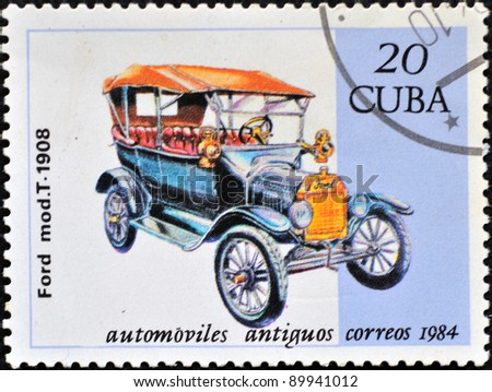 CUBA - CIRCA 1984: A stamp printed in Cuba shows an image with a retro, antique Ford car from 1908, series, circa 1984 - stock photo