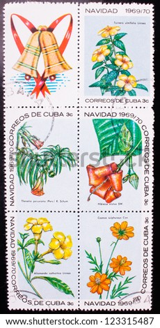 CUBA - CIRCA 1969: A stamp printed in Cuba shows five kinds of yellow and orange flowers, circa 1969. - stock photo