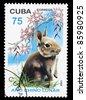 CUBA - CIRCA 1999: A Stamp printed in CUBA shows image of a rabbit, circa 1999 - stock photo