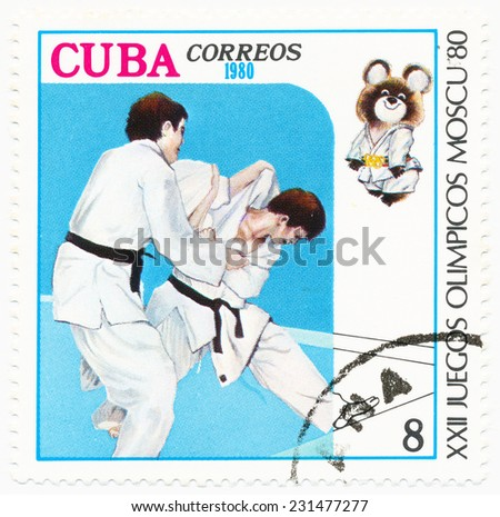 CUBA - CIRCA 1980: A stamp printed in Cuba shows judo, Olympics in Moscow, circa 1980 - stock photo