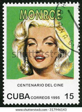 CUBA - CIRCA 1995: A stamp printed in Cuba shows Marilyn Monroe (1926-1962), series Century Motion Pictures, circa 1995 - stock photo