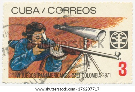 CUBA - CIRCA 1971: A stamp printed in Cuba shows Rifle shooting, 6th Pan American Games, Cali, Colombia, circa 1971 - stock photo