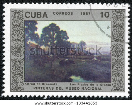 """CUBA - CIRCA 1987: A Stamp printed in CUBA shows the painting """"Farm Meadows"""", by Alfred de Breanski, from the series """"Paintings in the Natl.Museum"""", circa 1987 - stock photo"""