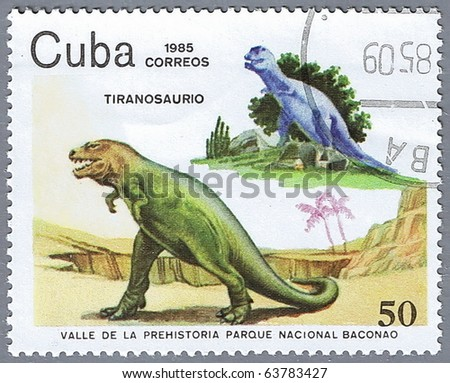 CUBA - CIRCA 1985: A stamp printed in Cuba shows Tyrannosaurus, series devoted to prehistoric animals, circa 1985 - stock photo