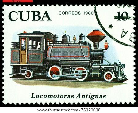 CUBA - CIRCA 1980: A Stamp printed in the  Cuba  shows  antique locomotive 2-4-2, series, circa 1980 - stock photo