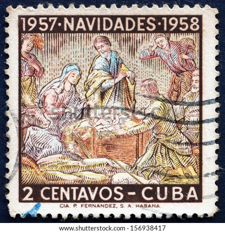 CUBA - CIRCA 1957: a stamp printed in the Cuba shows Holy Family, Nativity, Christmas 1957, circa 1957 - stock photo