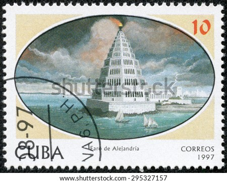 CUBA - CIRCA 1997: a stamp printed in the Cuba shows Lighthouse of Alexandria, Seven Wonders of the Ancient World, circa 1997 - stock photo