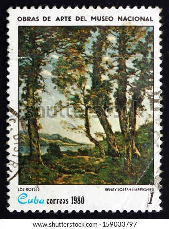 CUBA - CIRCA 1980: a stamp printed in the Cuba shows The Oak Trees, Painting by Henry Joseph Harpignies, National Museum, circa 1980 - stock photo