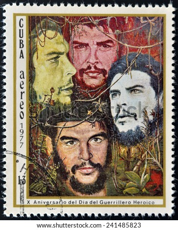 CUBA - CIRCA 1977: A Stamp Shows Image Ernesto Che Guevara and Dedicated to the 10th Anniversary of the Day of the Heroic Guerrilla, circa 1977  - stock photo