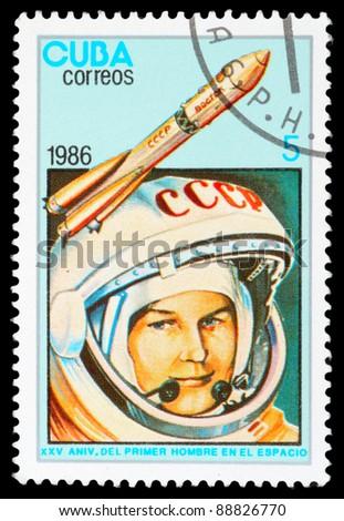 CUBA - CIRCA 1986: An airmail stamp printed in Cuba shows a space ship, series, circa 1986. - stock photo