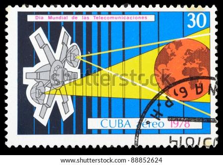 CUBA - CIRCA 1978: An airmail stamp printed in Cuba shows a space ship, series, circa 1978. - stock photo