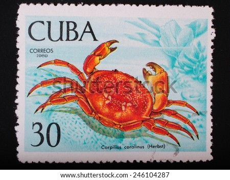 Cuba - circa 1969: Postage stamp printed in Cuba shows a color image underwater creatures crab coral fauna theme philately - stock photo