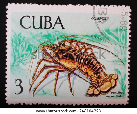 Cuba - circa 1969: Postage stamp printed in Cuba shows a color image underwater creatures great lobster theme fauna philately - stock photo