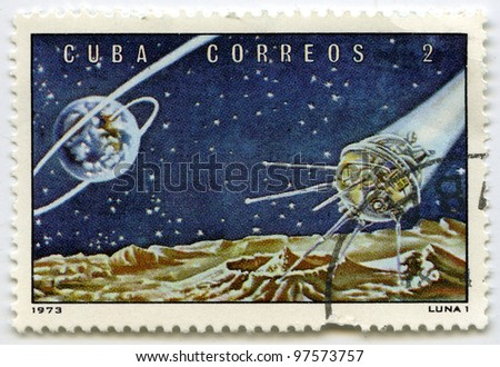 """CUBA - CIRCA 1973: Postage stamps printed in Cuba shows Soviet space station """"Luna - 1"""", circa 1973 - stock photo"""