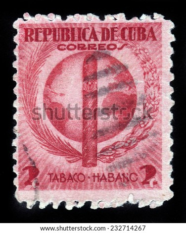 CUBA - CIRCA 1939: stamp printed by Cuba, shows Havana Cigar on the background of the globe, circa 1939 - stock photo