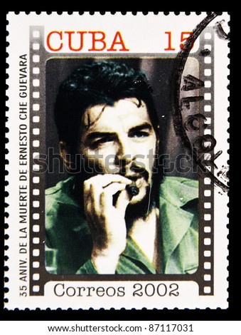 CUBA - CIRCA 2002 : Stamp printed in Cuba, anniversary of the death of Che Guevara in Bolivia, Circa 2002 - stock photo
