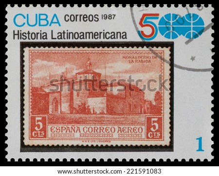 CUBA - CIRCA 1987: The postal stamp printed in CUBA shows Ancient Spanish fortress, circa 1987 - stock photo