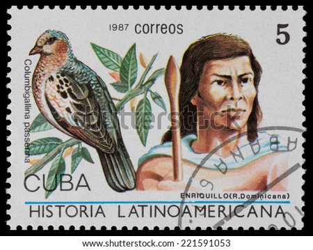 CUBA - CIRCA 1987: The postal stamp printed in CUBA shows enriquillo (Dominicana) and columbigallina passerina, circa 1987 - stock photo